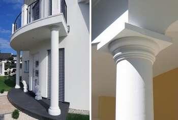 Hohlsäulen und Kapitelle in Halbteilen aus Beton