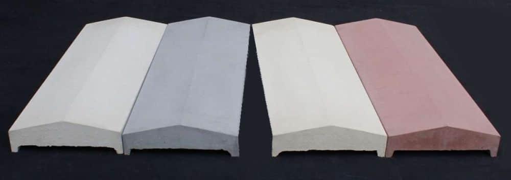 Mauerabeckungen Satteldachform in vier verschiedenen Farben